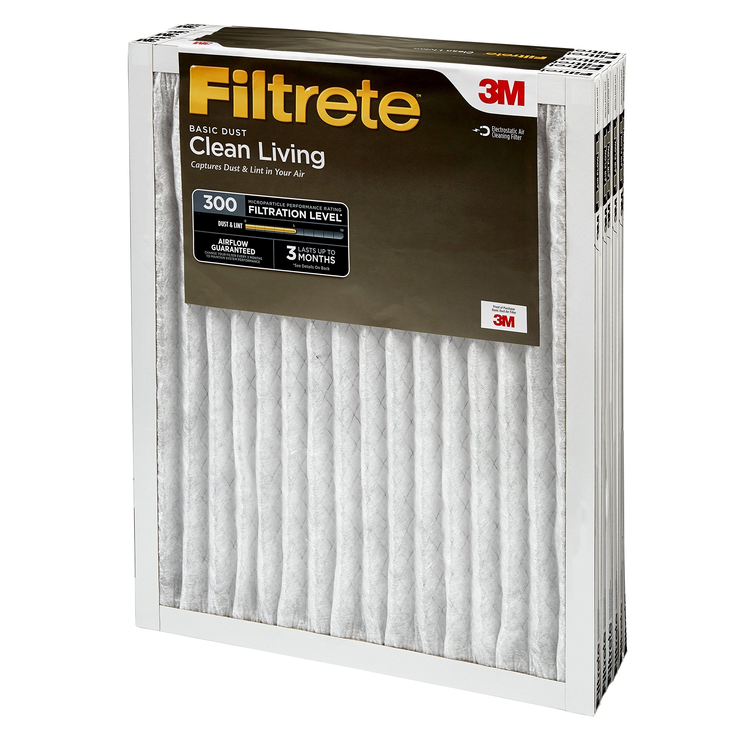 Filtrete 20x20x1, AC Furnace Air Filter, MPR 300, Clean Living Basic Dust, 6-Pack by Filtrete (Image #8)