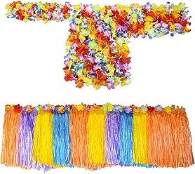 SMITCO Hula Skirt - Hawaiian Girl Costume - Luau Grass Skirts, Leis and Bracelets for Kids - 10 Sets
