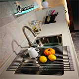 LEASEN Kitchen Silicone Roll-up Dish Drying Rack Drainer Over the Sink Round Rob-Grey