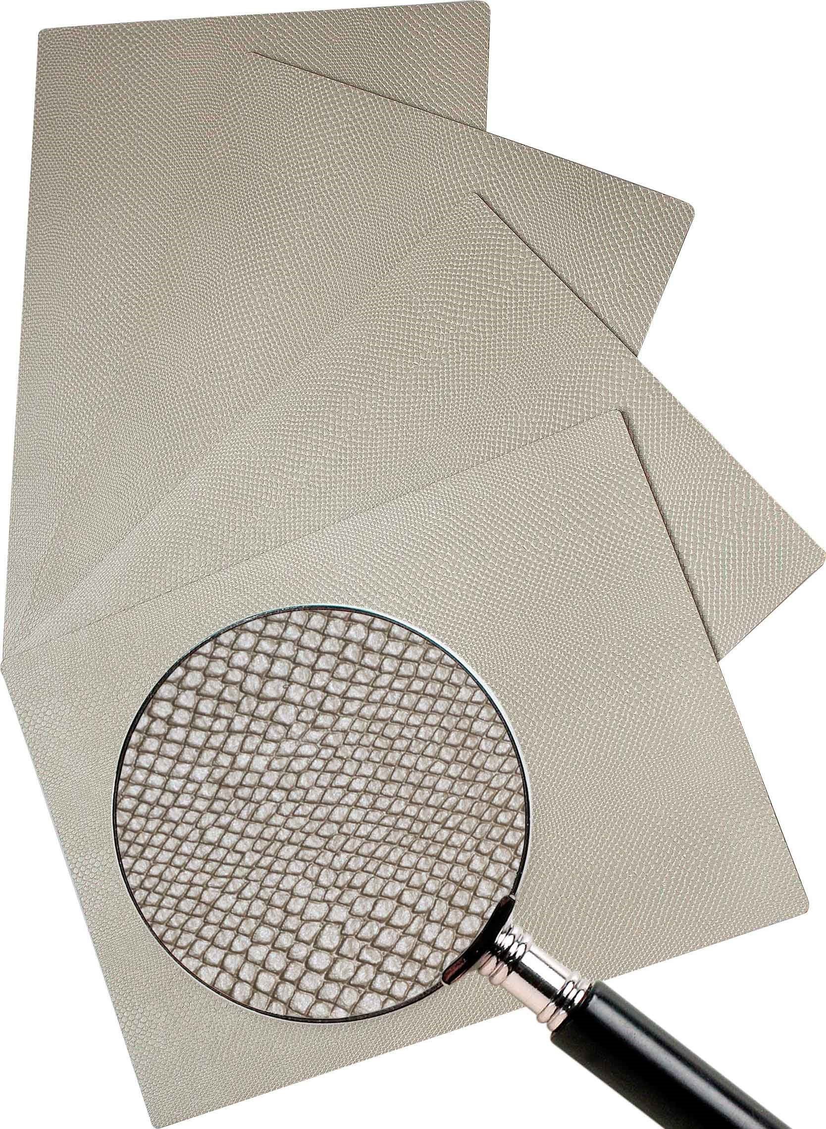Leather Placemats, Real cowhide, hand finished, 13'' x 18'' (4 piece set) (Pearl)