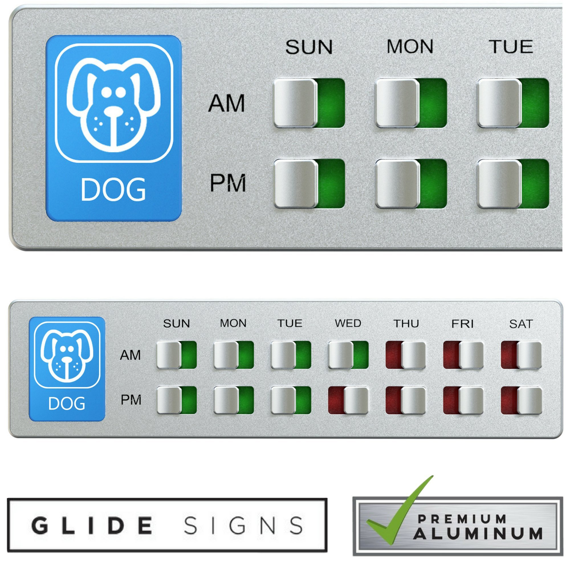 Glide Signs Dog Food Organizer – Pet Feeding Reminder - Am Pm Daily Indicator Sign - Fed or Feed the Puppy Supplies - Fridge Magnets and Double Sided Tape - Care for your Pets with