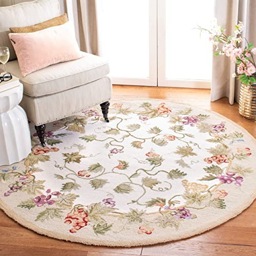 Safavieh Chelsea Collection HK116A Hand-Hooked Ivory Premium Wool Round Area Rug 3 Diameter