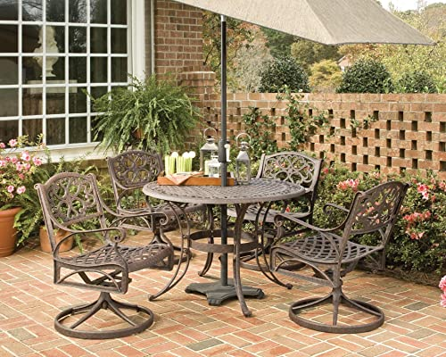 Biscayne 5 Piece Round Outdoor Dining Set Rust Bronze