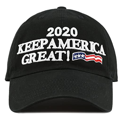 THE HAT DEPOT Unisex Trump 2020 President Campaign Flag Washed Cotton Hat  (Black) 384999cb336
