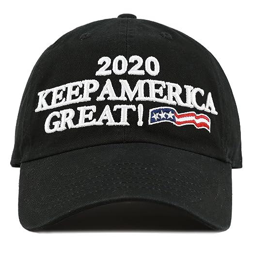 6bbbebacb4d9e THE HAT DEPOT Unisex Trump 2020 President Campaign Flag Washed Cotton Hat  (Black)