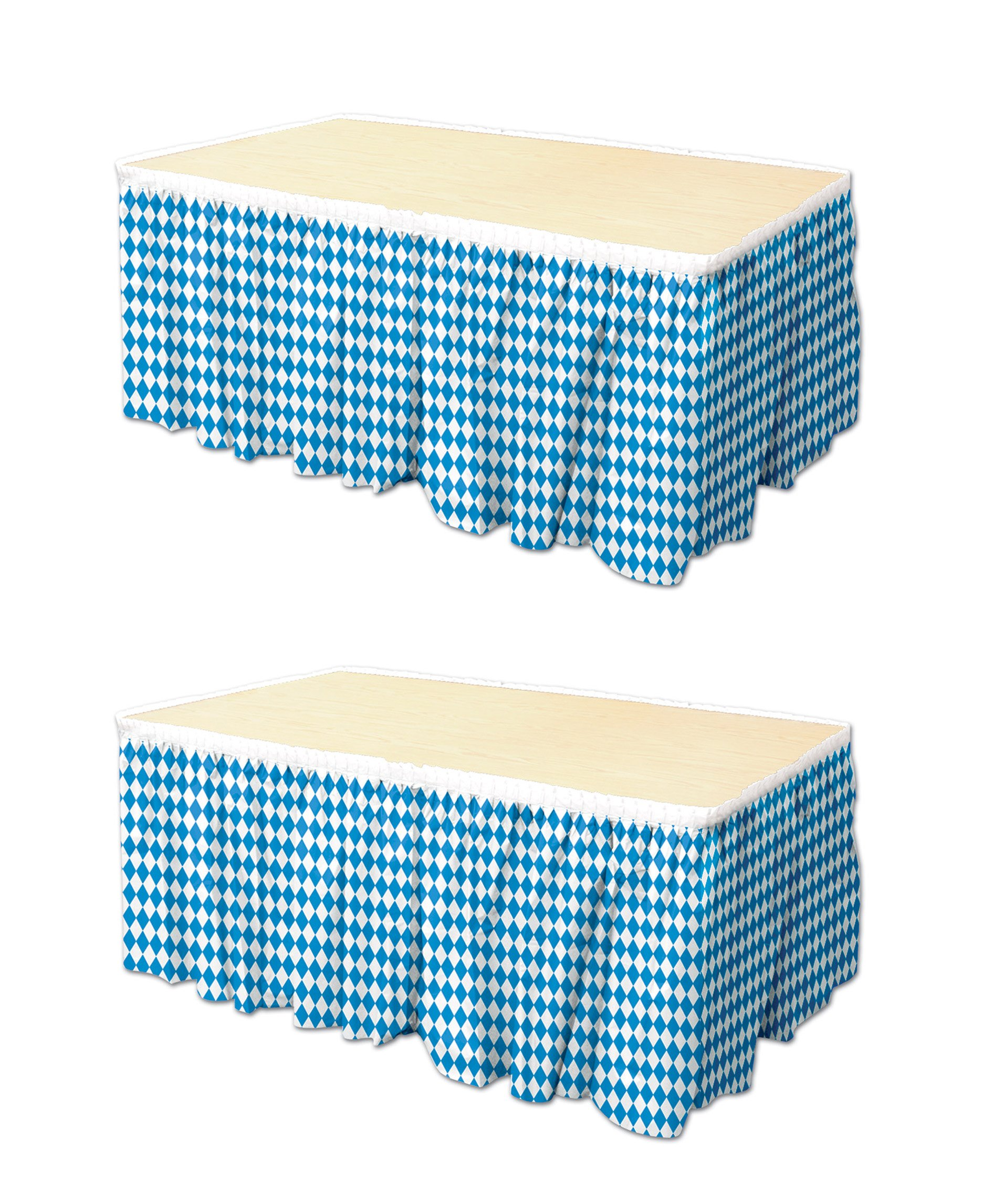 Beistle S58078AZ2, 2 Piece Oktoberfest Table Skirtings, 29'' x 14' (Blue,White)