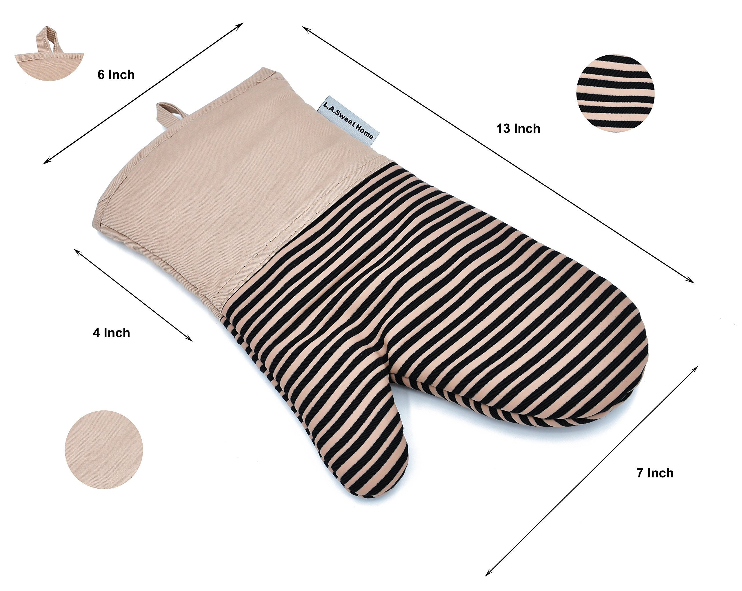 Silicone Oven Mitts 464 F Heat Resistant Potholders Striped Pattern Cooking Gloves Non-Slip Grip for Kitchen Oven BBQ Grill Cooking Baking 7x13 inch as Christmas Gift 1 pair (Khaki) by LA Sweet Home
