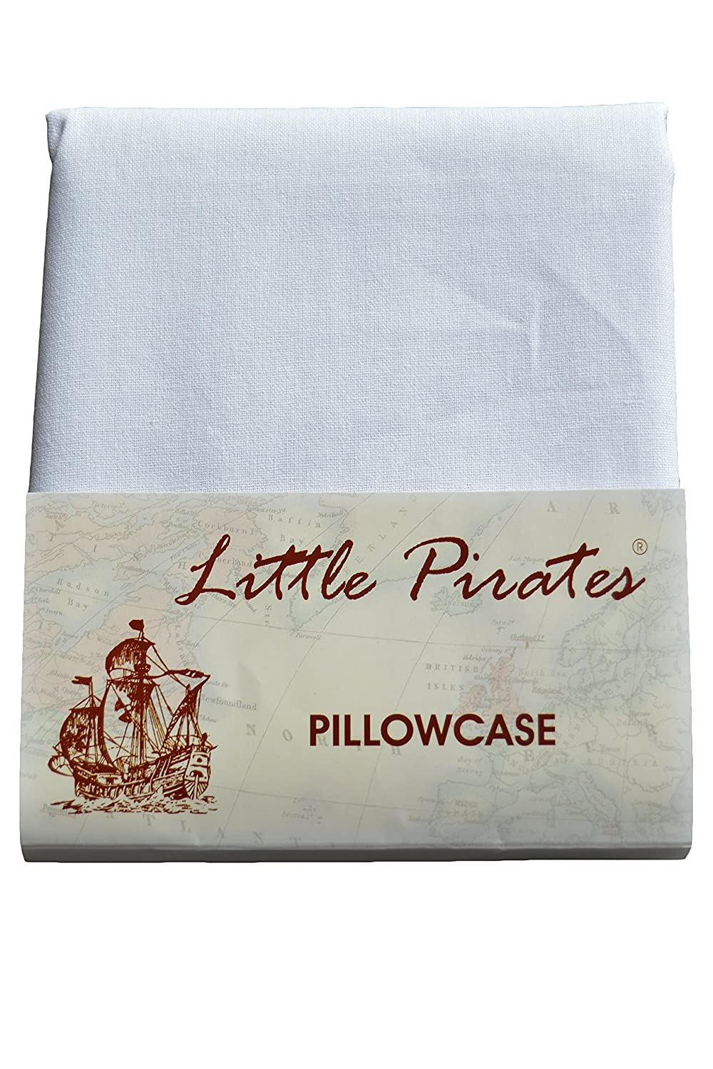 Brand New Baby Cot Bed Pillow Case 60 x 40 - 100% Cotton - White Little Pirates