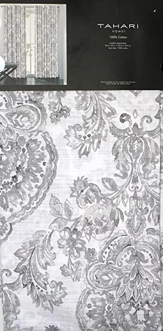 tahari window panels curtains 52 by 96inch set of 2 damask medallions in shades