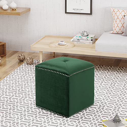 Christopher Knight Home Allen Glam Velvet Ottoman, Emerald