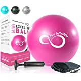 (23cm , Pink) - Live Infinitely Professional Grade 23cm Anti-Burst Mini Pilates Ball by Ideal For Home Exercise, Stability & Balance Training, Yoga Class & Barre Workout - Includes Hand Pump, Needle Valve & Mesh
