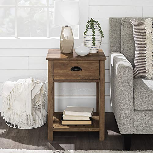 18 Inch Farmhouse 1 Drawer Side Table