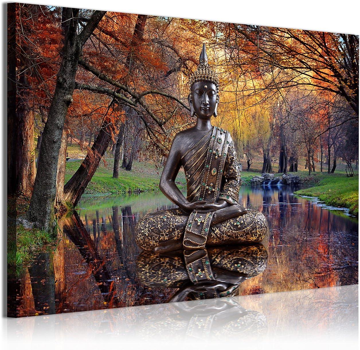DekoArte Cuadros Modernos Impresión de Imagen Artística Digitalizada, Lienzo Decorativo para Tu Salón o Dormitorio, Estilo Buda Zen en Lago Paisaje Relajación Naturaleza, ocres, 1 Pieza (120x80x3cm)