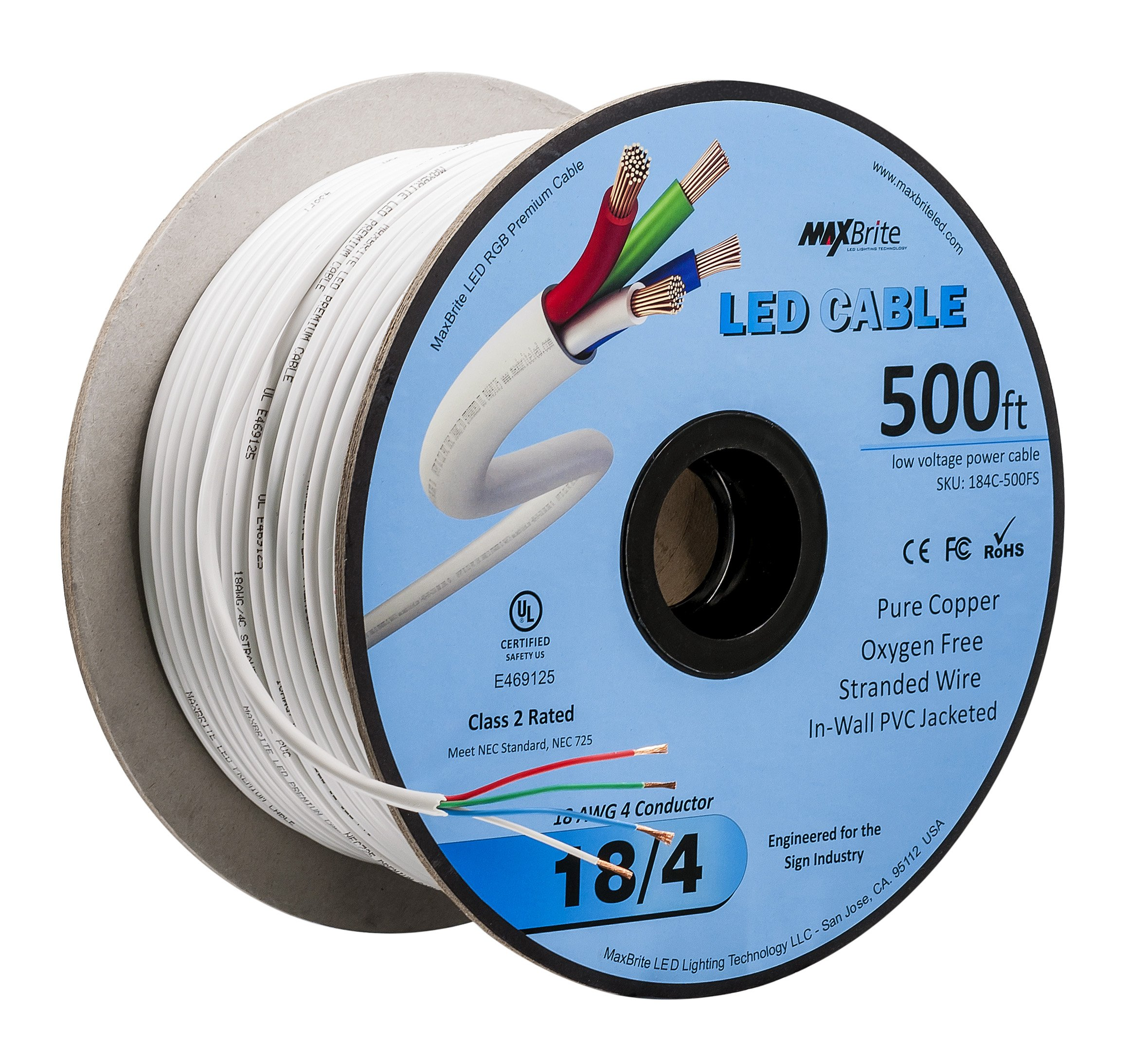 LED Cable 4 Conductor Jacketed In-Wall Speaker Wire UL/cUL Class 2 (500ft. Spool)