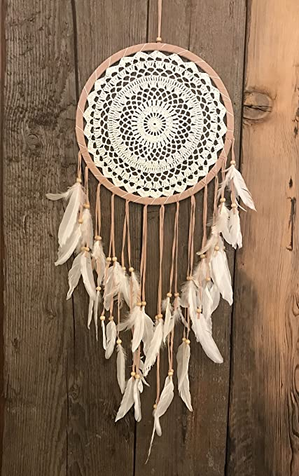 Amazoncom Ivory Crochet Dream Catcher With Wooden Beads And