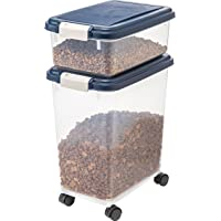 IRIS USA Airtight Pet Food Treat Storage Container Combo, Blue MP-8/MP-1