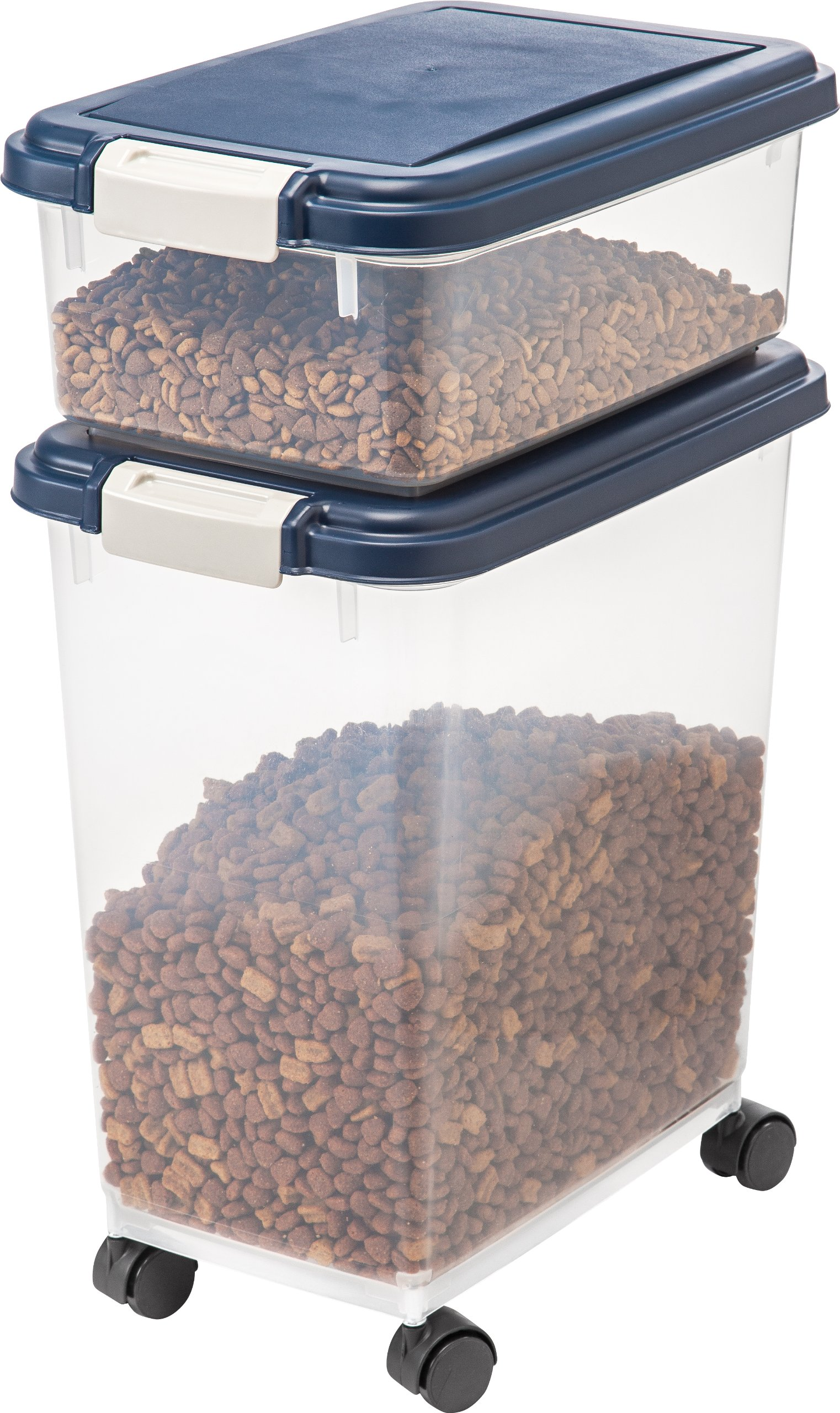 IRIS Airtight Pet Food Storage Container Combo Blue 12-qt and 33-qt