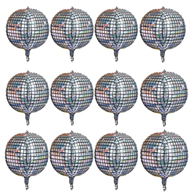 12 Pack 22 Inch Disco Ball Balloon Silver laser 4D Large Inflatable Sphere Aluminum Foil Balloon Silver Mirror Balloon for Disco Dance Party Supplies Bouquet Wedding Baby Shower Decorations: Toys & Games