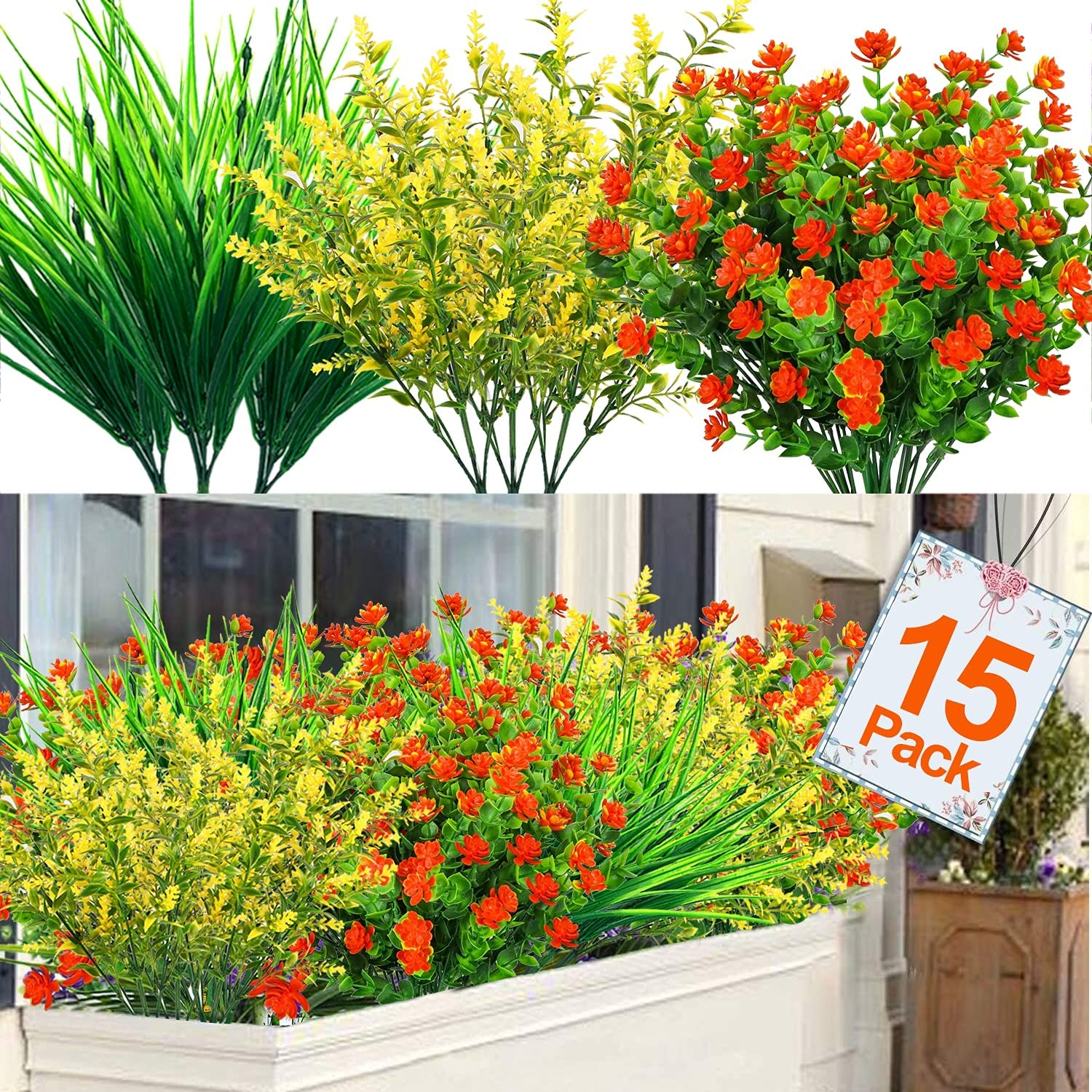 TURNMEON 15 Pcs Artificial Flowers Outdoor UV Resistant Fake Plants, Faux Plastic Corn-Flower Greenery Shrubs Indoor Outdoor Hanging Planter Home Wedding Porch Window Garden Decor(Yellow, Red, Green)