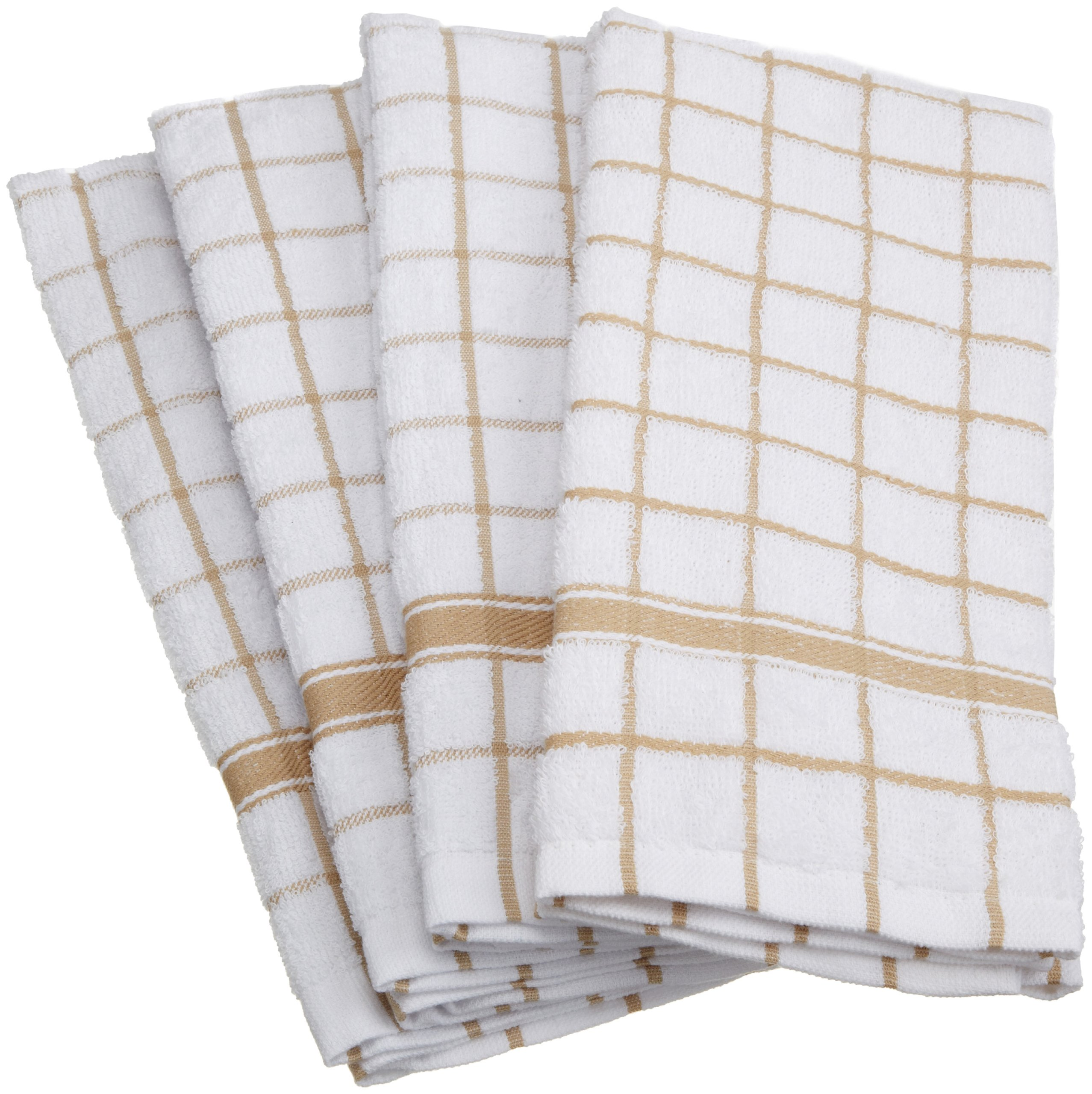 DII Cotton Terry Windowpane Dish Towels, 16 x 26'' Set of 4, Machine Washable and Ultra Absorbent Kitchen Bar Towels-Pebble