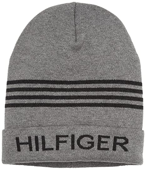 Tommy Hilfiger Men s Hilfiger Beanie (Light Grey Heather) 13c40d5fb3c