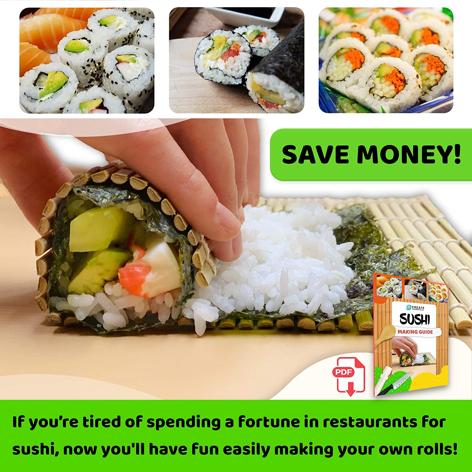 Sushi Making Kit All In One Sushi Roll Bazooka Maker with Restaurant Grade Rolling Mats and Roller for Sushi Parties at home Sushi Tools Set with Beginners Guide /& Recipes Bamboo Sushi Mat