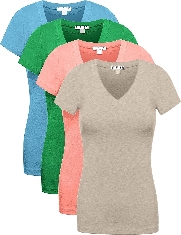 (ヴィヴィケイ) ViiViiKay レディース Vネック半袖Tシャツ4枚セット マルチカラー ベーシック B0731VRDQZ Medium|Oblu_kgrn_cor_hbge Oblu_kgrn_cor_hbge Medium