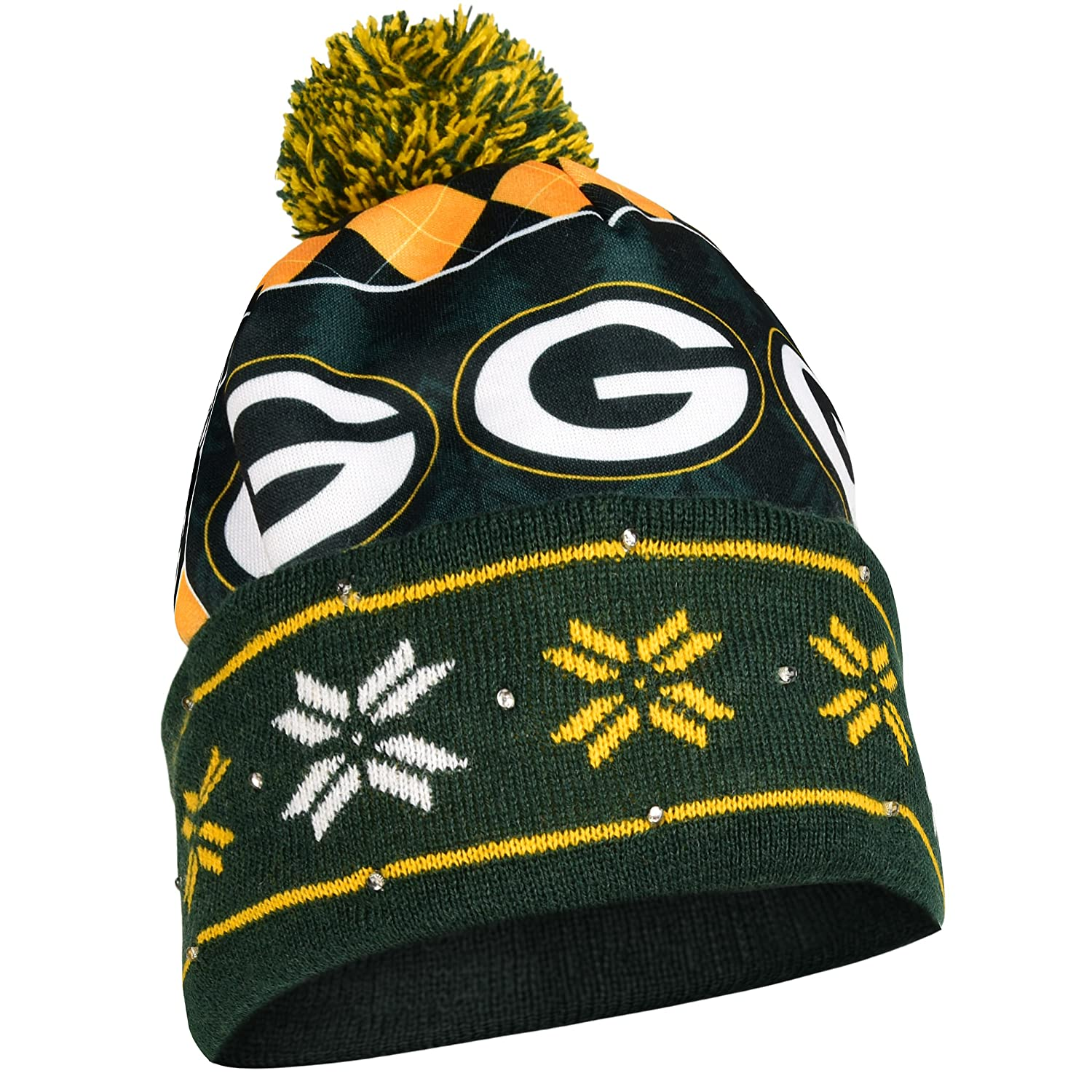 Green Bay Packers Exclusive Busy Block Printed Light Up Beanie