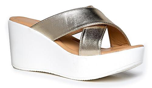b64b93dbd74 J. Adams Cross Band Platform Sandals - Comfortable Open Toe Flatform ...