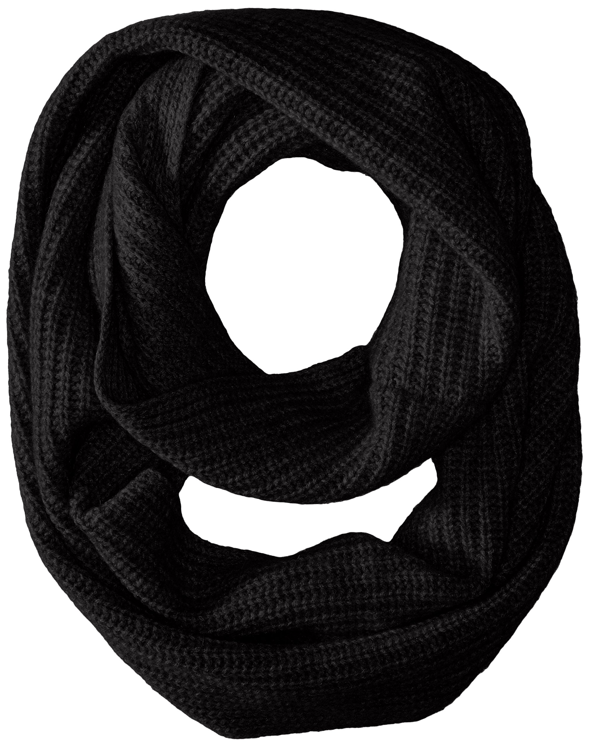 Sofia Cashmere Women's Ribbed Infinity Scarf, Black, One Size