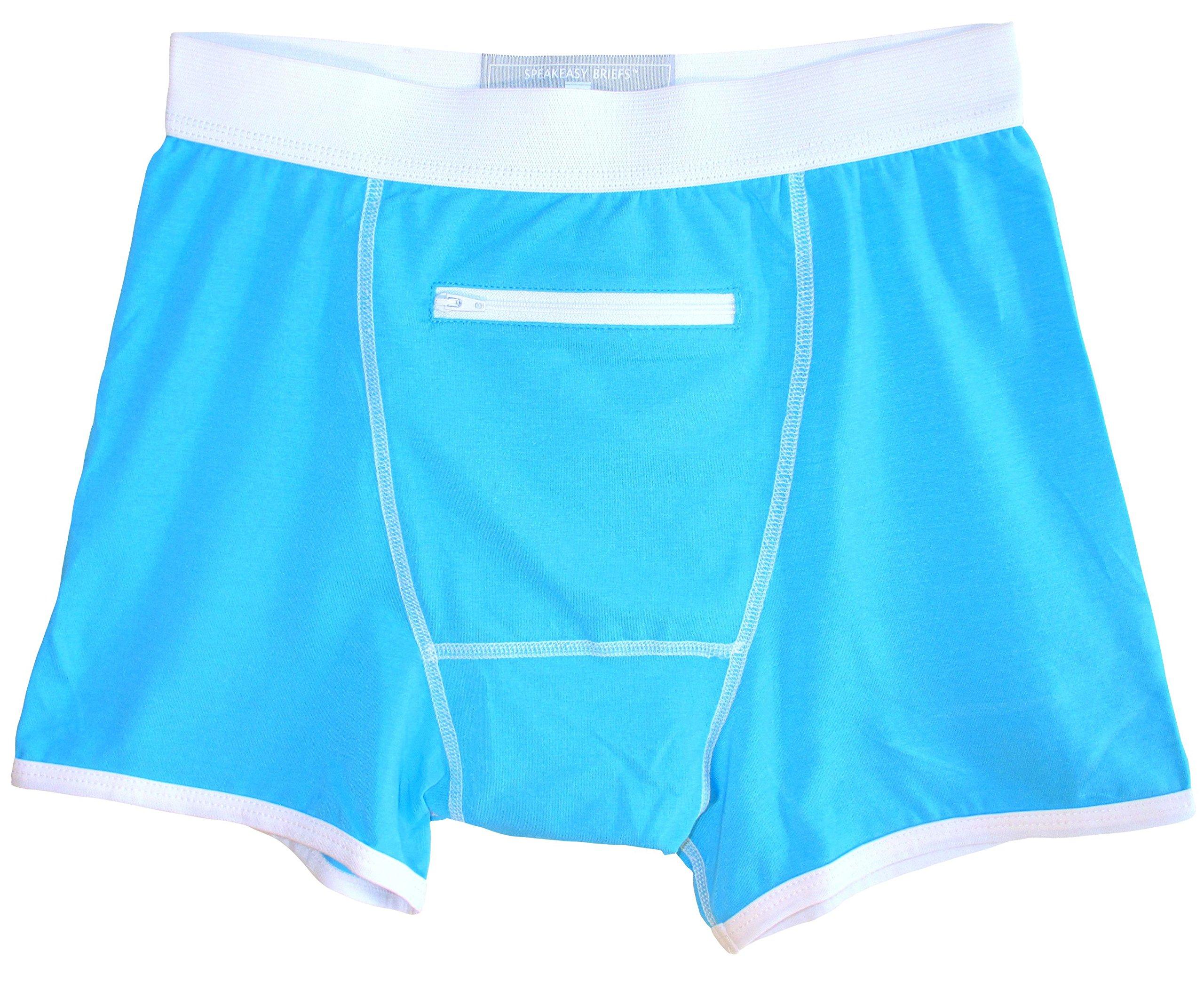 Speakeasy Briefs, Men's Stash Underwear with a Secret Front Pocket, Medium, Blue