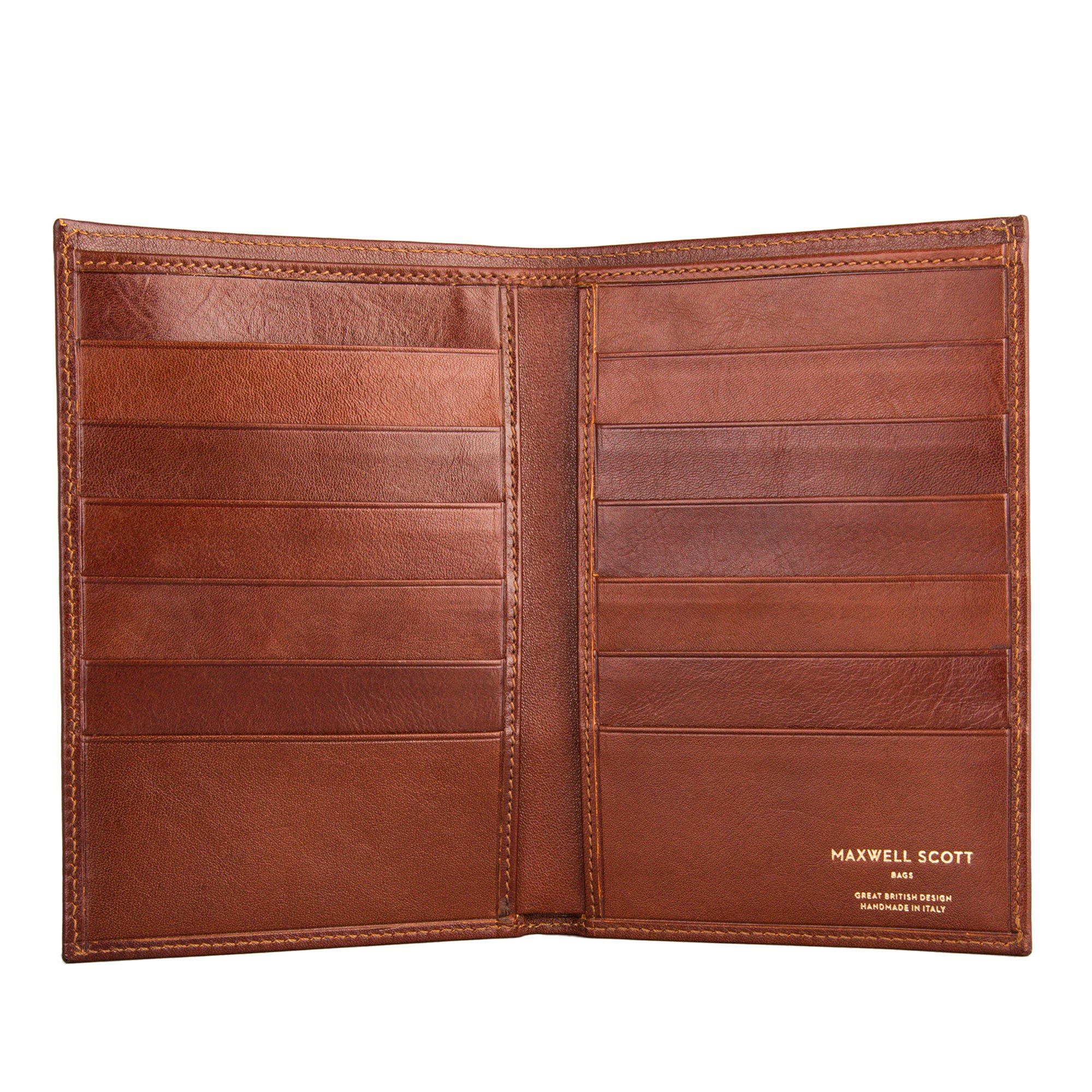 Maxwell Scott Personalized Luxury Tan Leather Jacket Wallet - One Size (The Pianillo) by Maxwell Scott Bags