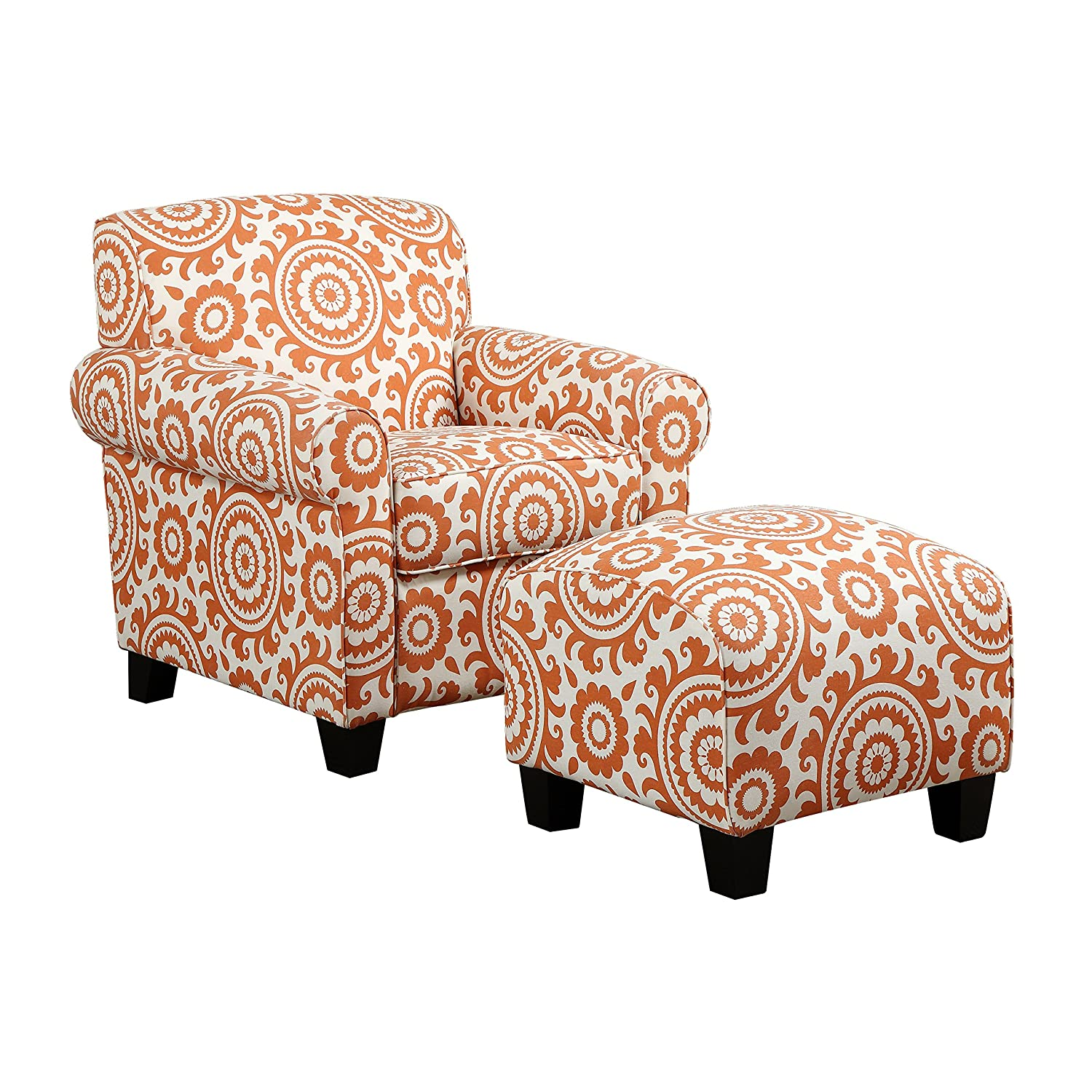 Amazon.com: Handy Living Winnetka Chair U0026 Ottoman In Orange Medallion:  Kitchen U0026 Dining