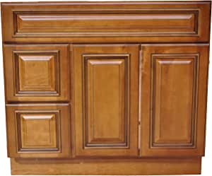 36 Inch All Wood Heritage Caramel Bathroom Vanity Two ...