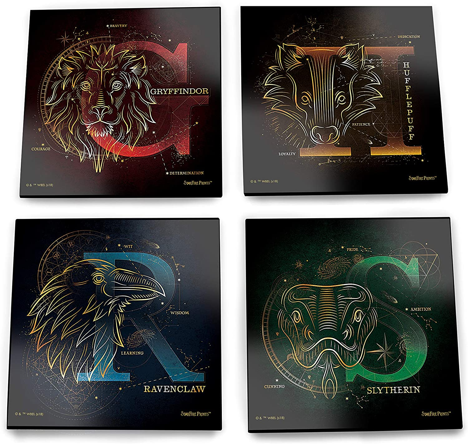 Harry Potter – Celestial House Crests – Hogwarts - Glass Coaster Set – For Gifting Collecting – Comes with stylish modern wooden holder