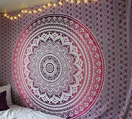 Queen Pink Ombre Tapestry Dorm Bedding Hippie Tapestries Mandala Tapestries  Tapestry Wall Hanging Bohemian Tapestries Indian