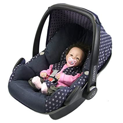 BAMBINIWELT Ersatzbezug für Maxi-Cosi PEBBLE 5-tlg, Bezug für Babyschale, Komplett-Set STERNE MARINE *NEU*