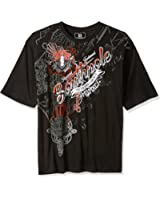 Southpole Men's Big and Tall Logo Short Sleeve All Over Metal Graphic Tee