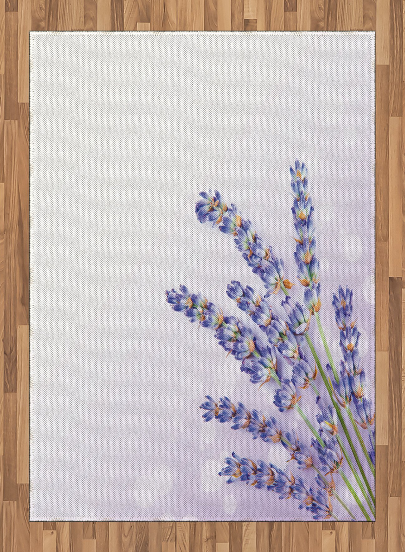 Lavender Area Rug by Ambesonne, Little Posy of Medicinal Herb Fresh Plant of Purple Flower Spa Aromatheraphy Organic, Flat Woven Accent Rug for Living Room Bedroom Dining Room, 5.2 x 7.5 FT, Lavander