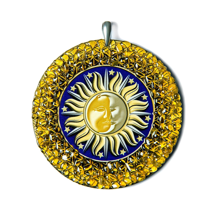 Sonne-Mond heidnischen Bernstein Amulett handgemachte Charme Medalion - heidnischen, spirituelle, New Age Geschenk AUM Esoteric Center