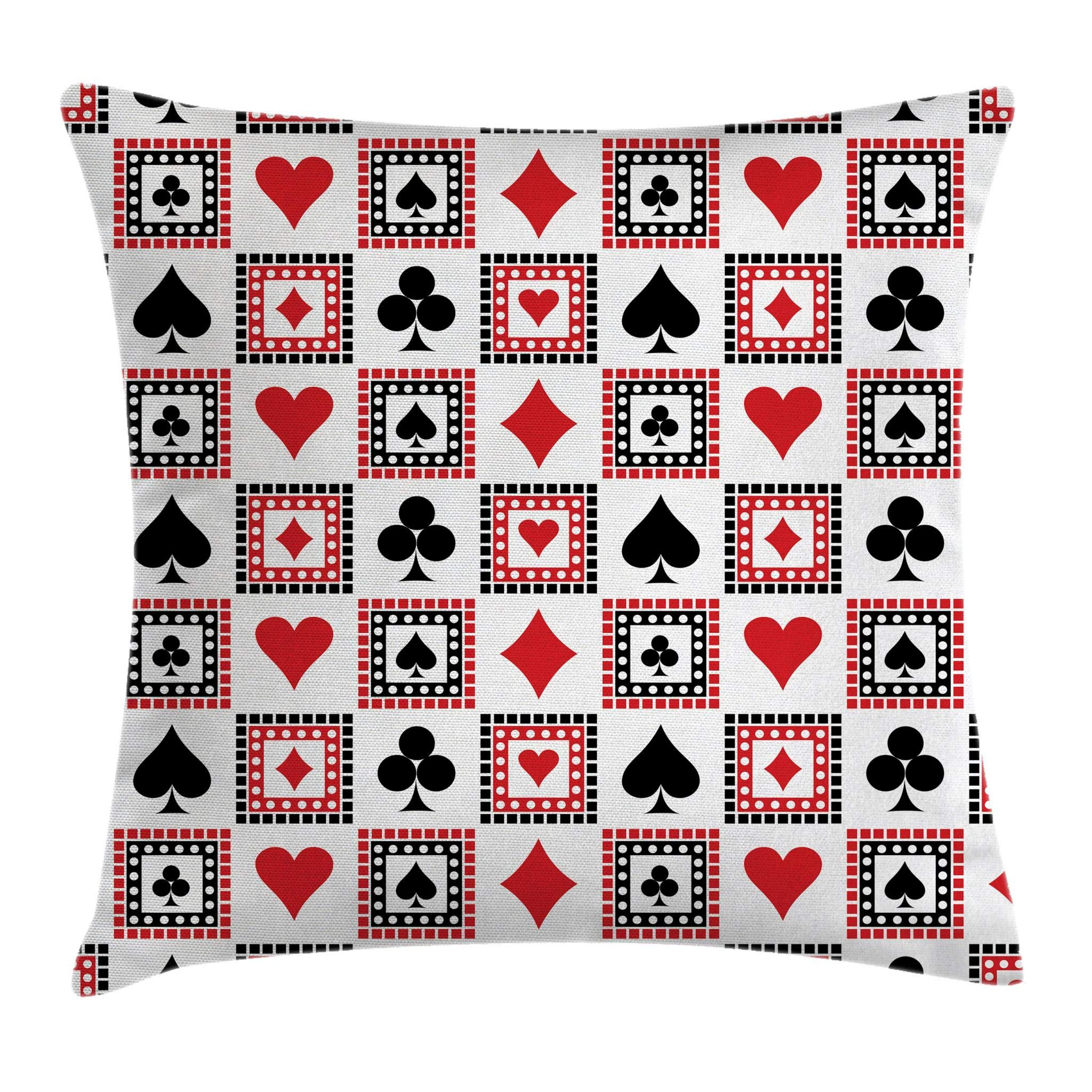 Ambesonne Casino Throw Pillow Cushion Cover, Playings Cards Clubs Hearts Symmetrical Geometric Repeating Ornamental, Decorative Square Accent Pillow Case, 20'' X 20'', Scarlet Black