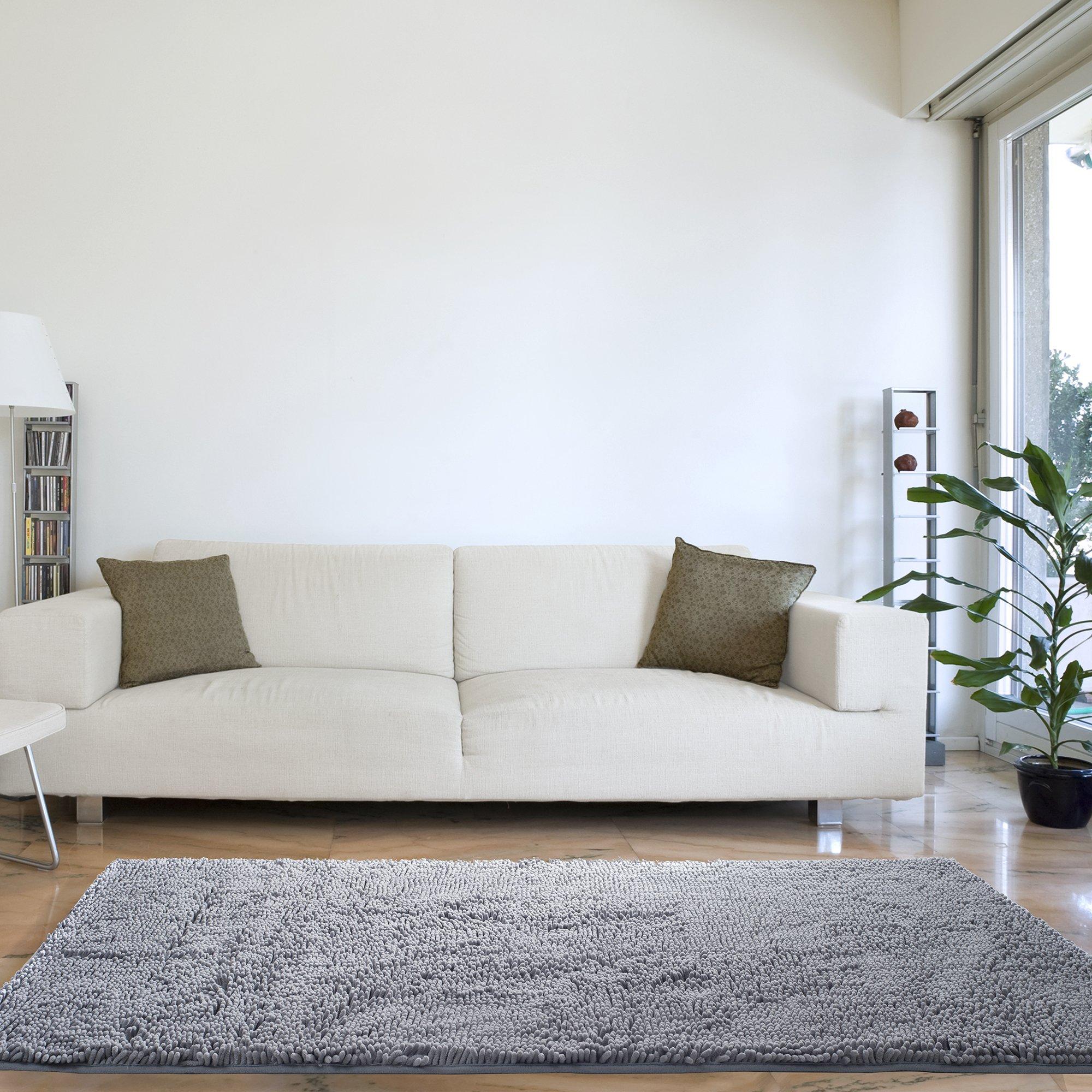 Bedford Home High Pile Shag Rug Carpet - Grey - 30x60