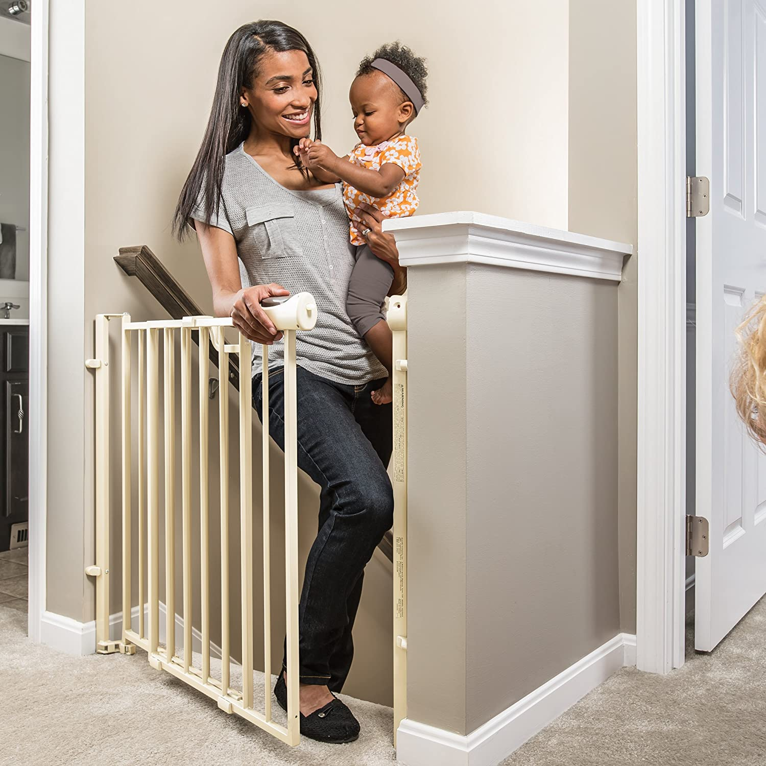 Evenflo Easy Walk Thru Top of Stairs Gate: Best baby gate for the top of stairs