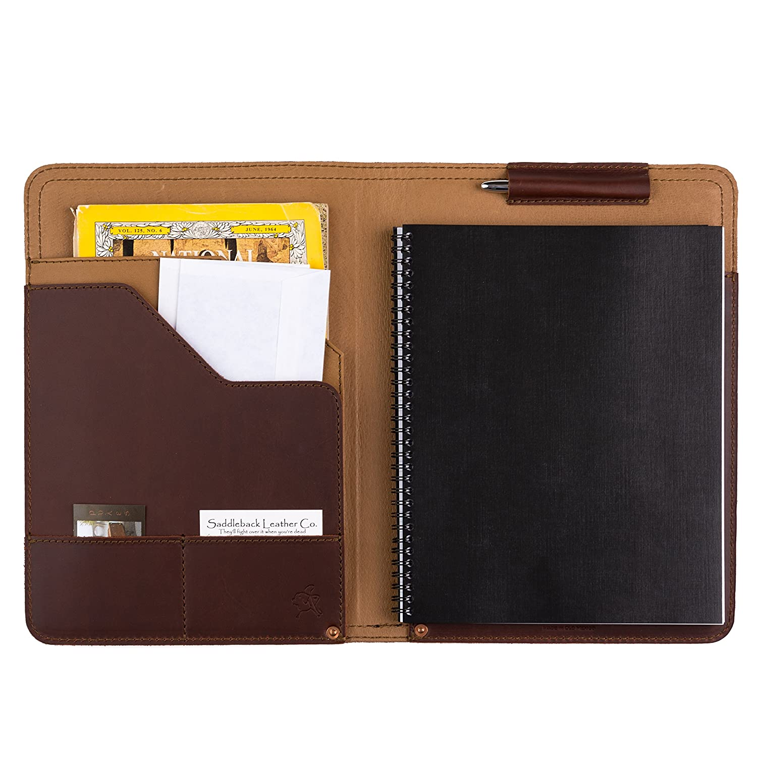 Merveilleux Business Notepad Holder Full Grain Leather Pad Folio For Legal Pads,  Tablets And Business Cards Includes 100 Year Warranty : Office Products