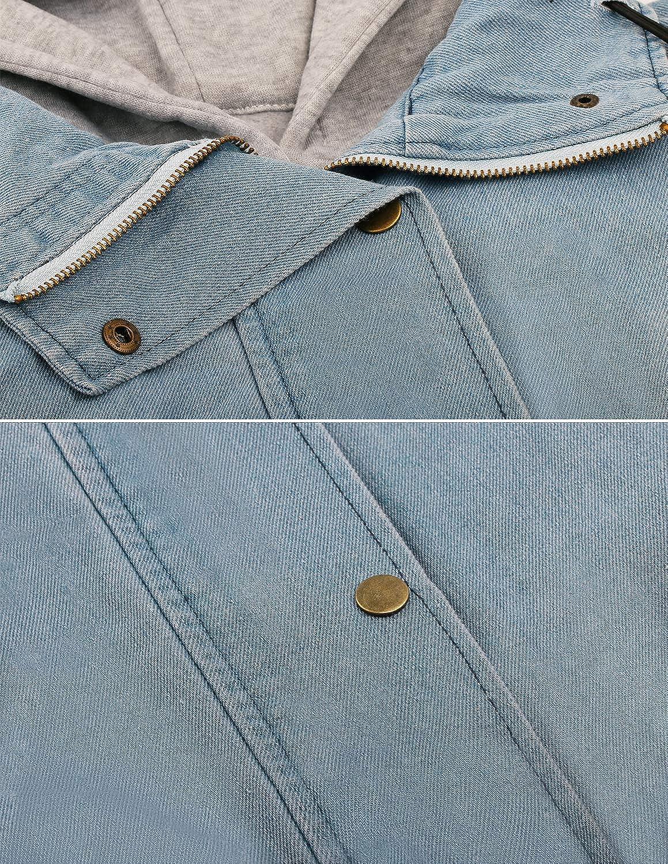 Angelwing Donna Casual Giacca Denim Giacche di Jeans Tasche Reali 2 in 1 Hoodie Cappotto con Cappuccio Invernale Primavera Parka