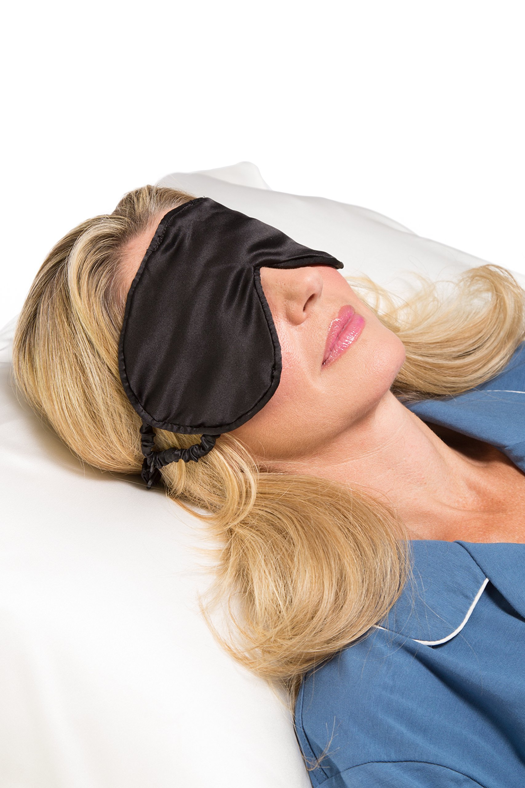 Tranquility Therapeutic 100% Mulberry Silk Sleep / Eye Mask with Adjustable Strap; Hypoallergenic, Facial Eye Beauty and Health Black (Blk)