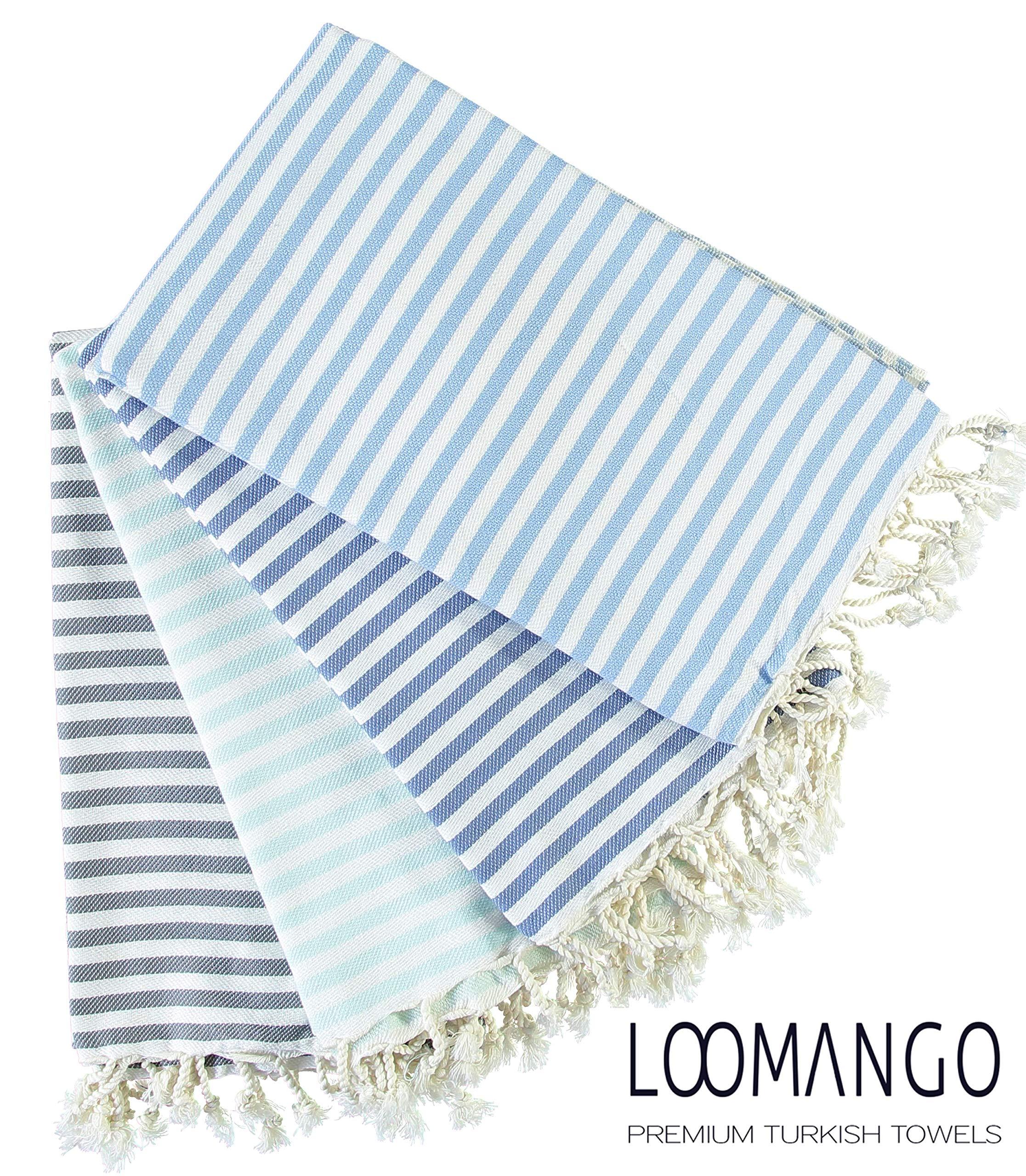 LOOMANGO Set of 4 Rainbow Collection Ultra Soft Premium Quality 100% Cotton 70''x39'', Bath Beach Fouta Pestemal Peshtemal Turkish Towel