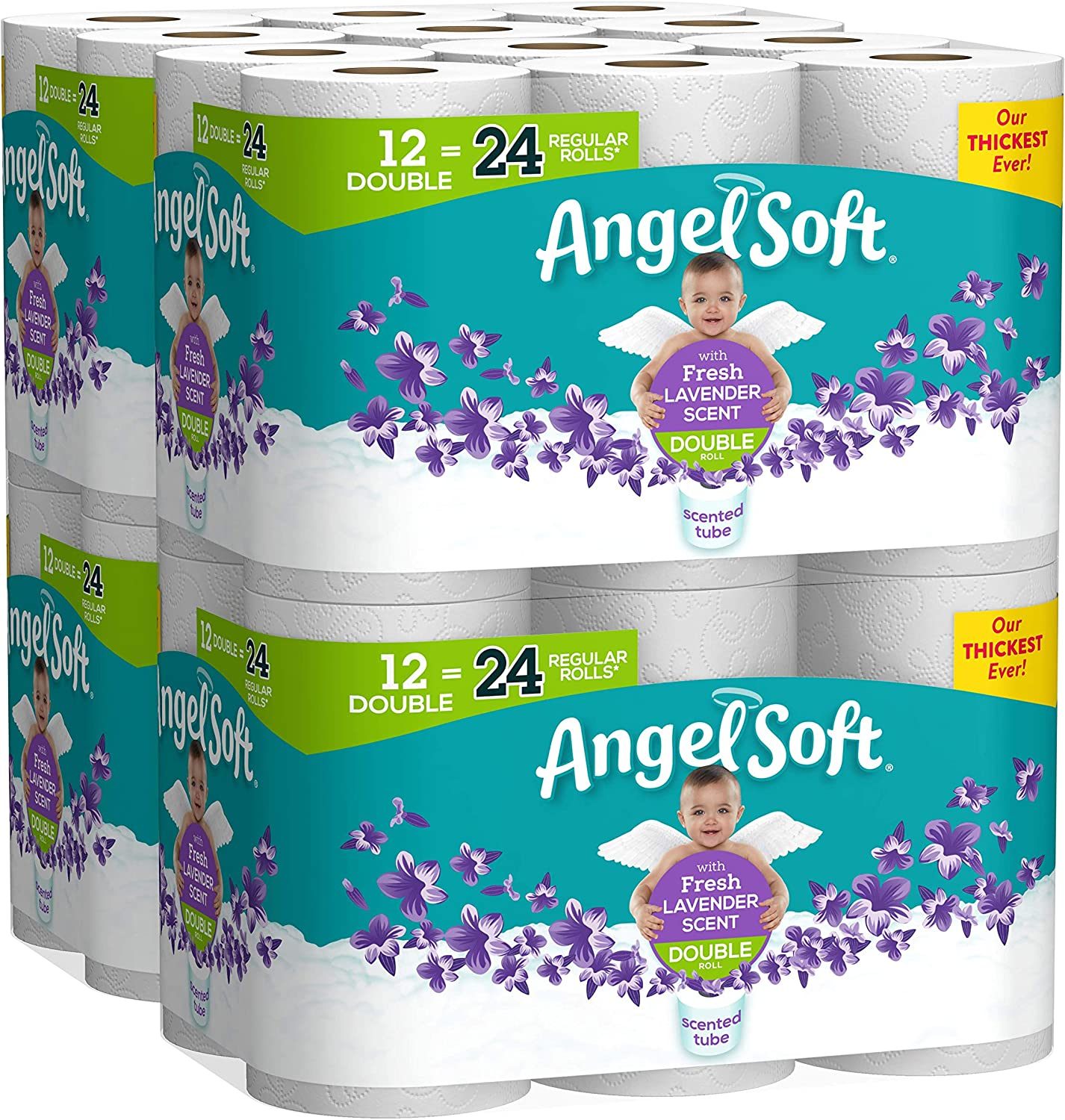 Angel Soft Toilet Paper with Fresh Lavender Scented Tube, 48 Double Rolls = 96 Regular Rolls, 214 2-Ply Sheets Per Roll