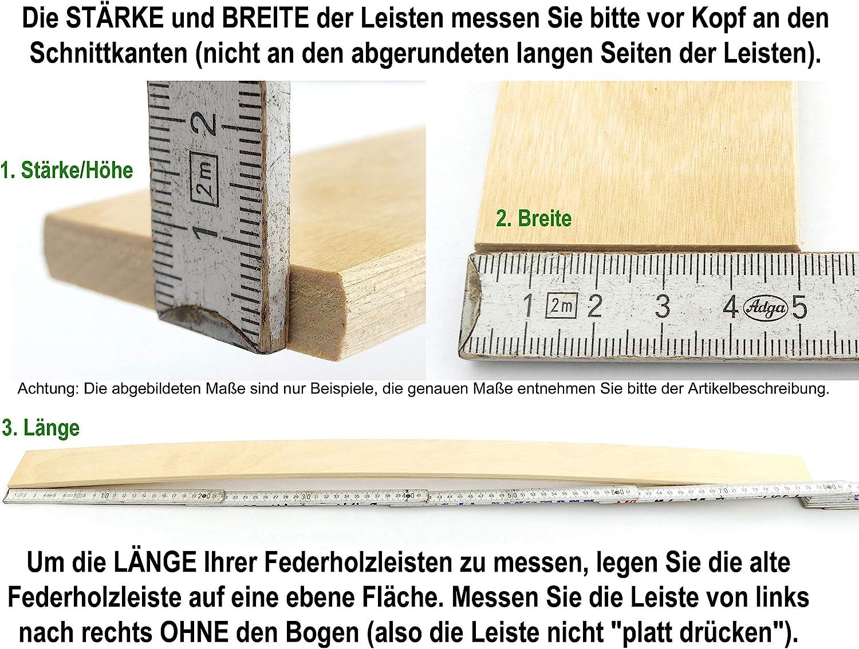 Lattenrostersatzteile 0,8x5,0 500mm 8x50 Ersatz Leisten BOSSASHOP 5 St/ück Federholzleisten 8mm St/ärke x 50mm Breite Lattenrost reparieren Lattenrost Latten