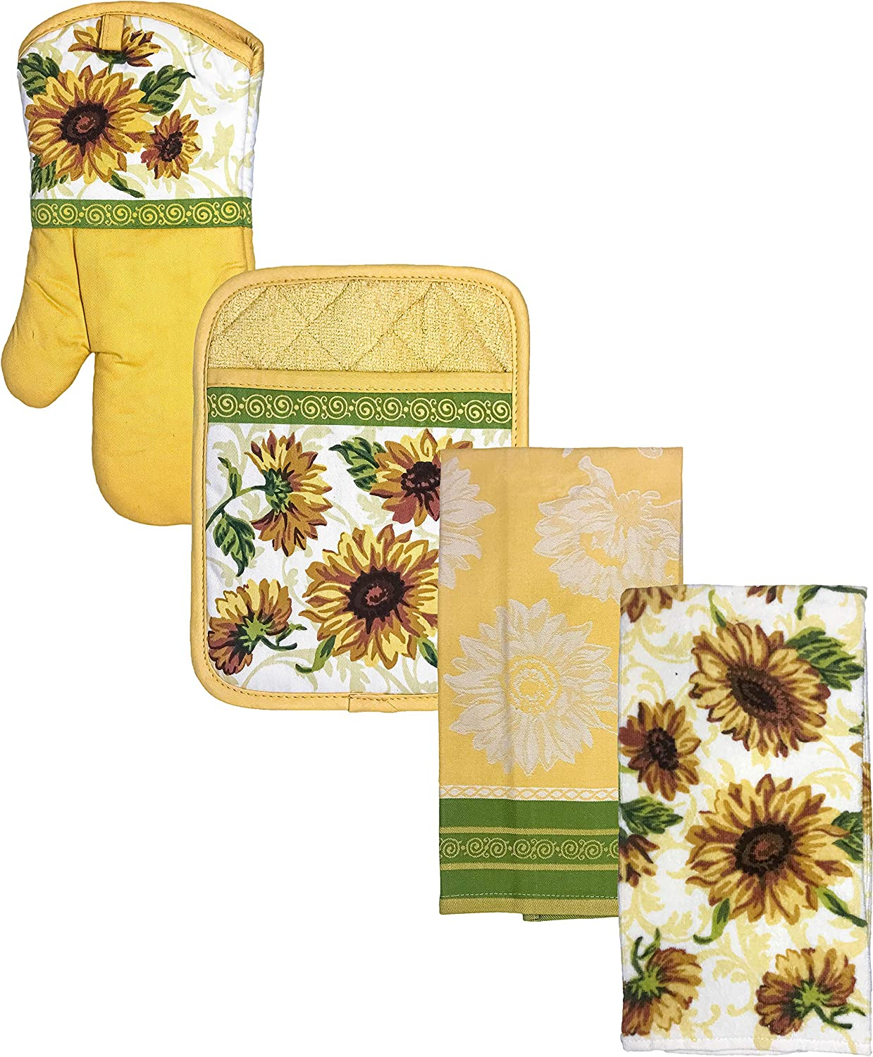 Better Homes & Gardens 4-Piece Sunflower Yellow Oven Mitt, 2 Kitchen Towels, and Pot Holder Set